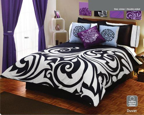 Black And White, Graphic, Damask Bedding