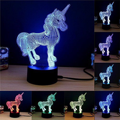 E Lec 3d Night Lamp Optical Illusion 7 Color Changing Rgb Gradient Light Home Decor Acrylic Plate Touch Table Desk Lamps For Kids Adults Gift Unicorn Night Light Kids Unicorn Lamp Unicorn