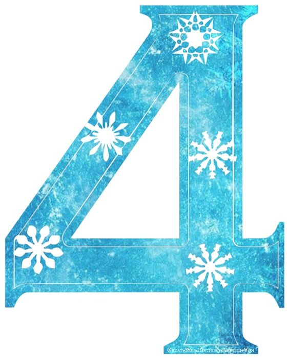 Frozen Font-Snowflake numbers with Frozen background, cute for Frozen party.
