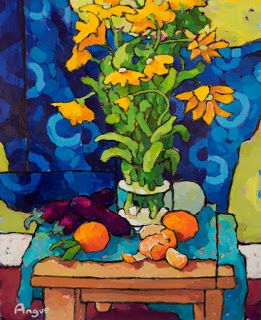 Chrysanthemums, japanese eggplant & tangerines 24 X 18                         Acrylic on panel  by Angus Wilson Studio