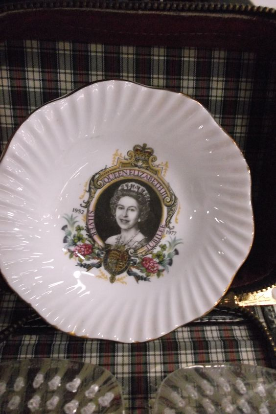 1977 Silver Jubilee Plate Qween Elizabeth II found in Booth P616 at 1400 Squires Beach Road,  Pickering, Ontario L1W 4B9 (905)427-7902 www.roadshowantiquesmall.com