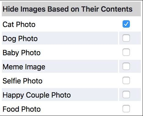 FB Purity now lets you block images based on their contents. For example you can now block cat photos, dog photos, baby photos, memes. selfies, happy couples and food photos.