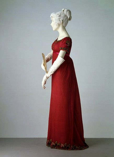 Evening dress    1807-1811  Machine made silk net, embroidered with chenille thread, with silk ribbon, hand-sewn