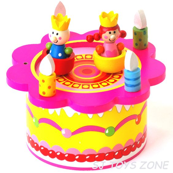 Happy Birthday Wooden Music Box Dancing Prince Princess Gift Toy for Kids