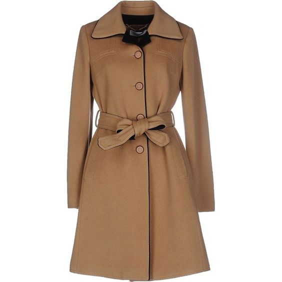Cristinaeffe Coat ($280) ❤ liked on Polyvore featuring outerwear, coats, camel, camel coat, single breasted trench coat, wool coat, woolen trench coat and brown coat