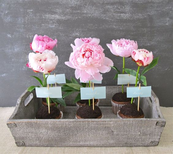 Each potted flower can be tagged  for table seating, or used as individual place cards!