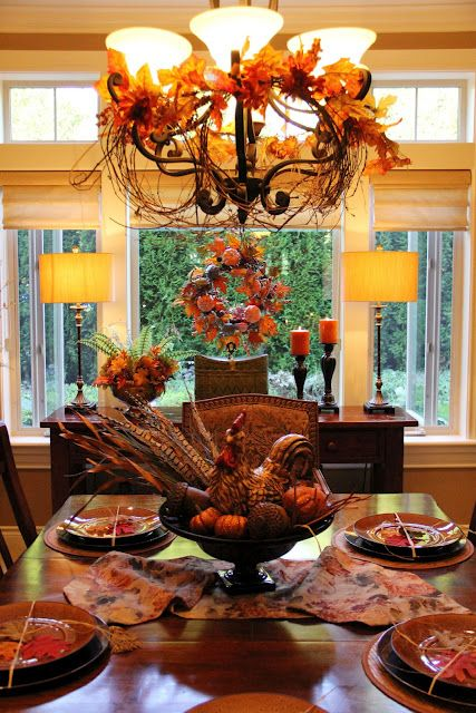 Autumn dining room love the chandelier fall my for Thanksgiving dining room decorating ideas