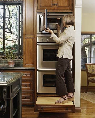 In a small kitchen, it is essential to place appliances strategically. In this case, the microwave caps two wall ovens. A pullout step under the stack allows easy access. The step's nonslip surface ensures a safe foothold: