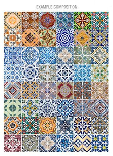 Portuguese Tiles Patterns V2 48 Tiles Decals by homeartstickers. Portuguese Tiles   Azulejos   Tile Decals   Tile Stickers