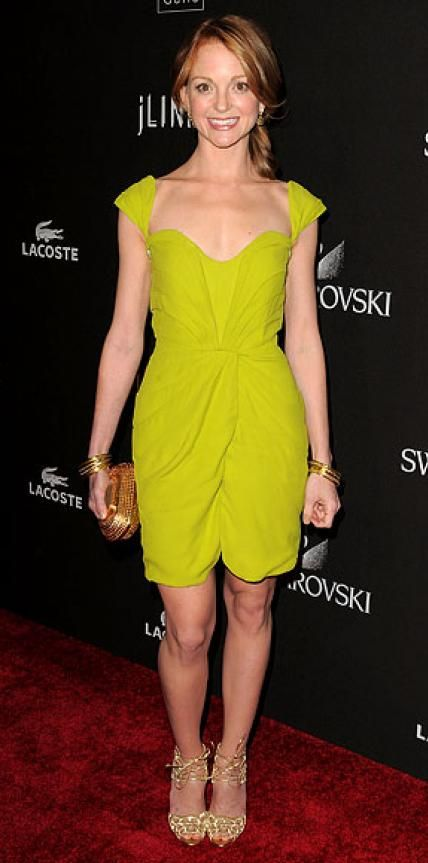 Look of the Day › February 28, 2010 WHAT SHE WORE Mays complemented her flirty Brian Reyes chartreuse dress with Brian Atwood shoes, Loree Rodkin bangles and bracelets and earrings from Ippolita WHERE The Costume Designers Guild Awards in Los Angeles