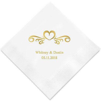 Heart Swirl Printed Paper Napkins Wedding Napkins Personalized Wedding Cocktail Napkins Wedding Bar Napkins