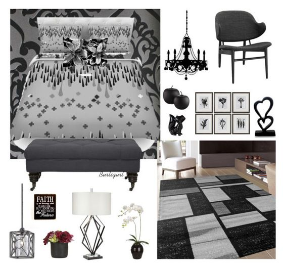 """Black & Gray"" by burlsgurl ❤ liked on Polyvore featuring interior, interiors, interior design, home, home decor, interior decorating, Astek, Universal Lighting and Decor, Uttermost and Sia"