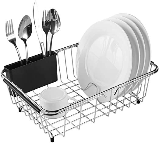 Expandable Dish Drying Rack 304 Stainless Steel Over Sink Dish Drainer Dish Rack In Sink Or On Counter With Ute Sink Dish Drainer Dish Rack Drying Dish Racks