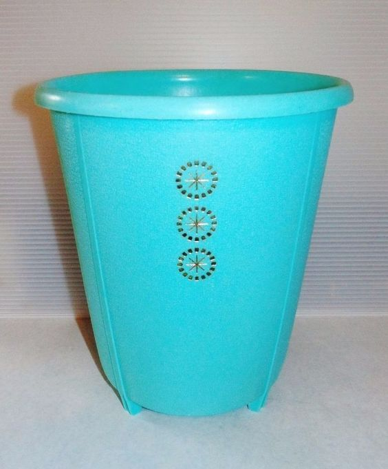 Mid Century Vintage Rubbermaid 2940 Aqua Trash Can Wastebasket Gold Detail   eBay