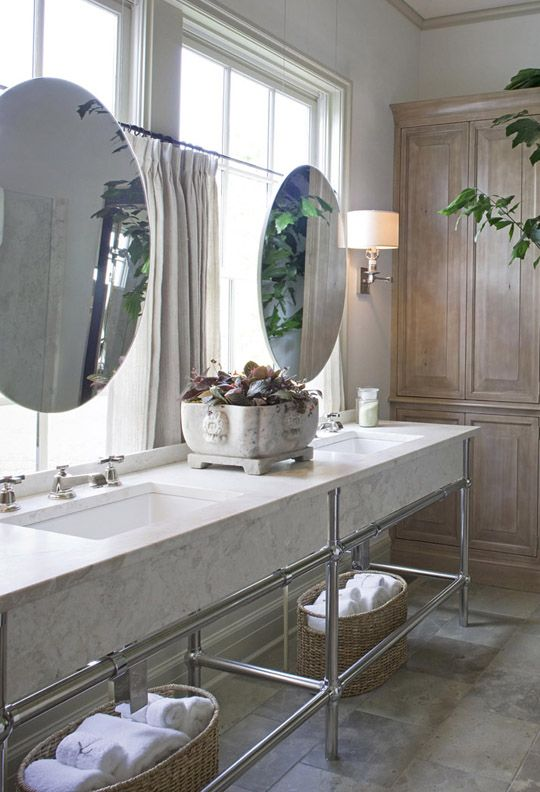 Mirror hanging round mirrors and double sinks on pinterest - Round mirror over bathroom vanity ...