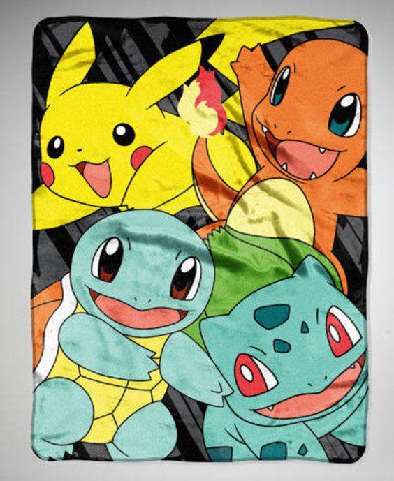 NEW Pokemon Nintendo Pikachu Charmander Squirtle Bulbasaur Blanket Throw 46x60