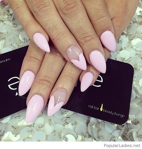 Nice Light Pink Nails With Heart Tip Valentines Nails Pink