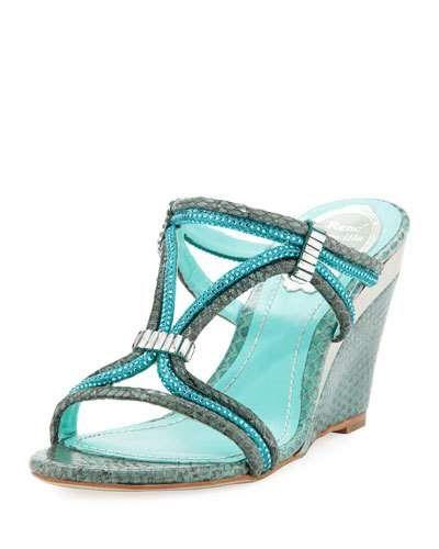RENÉ CAOVILLA CRYSTAL SNAKE-PRINT WEDGE SLIDE SANDAL, SKY BLUE. #renécaovilla #shoes #sandals