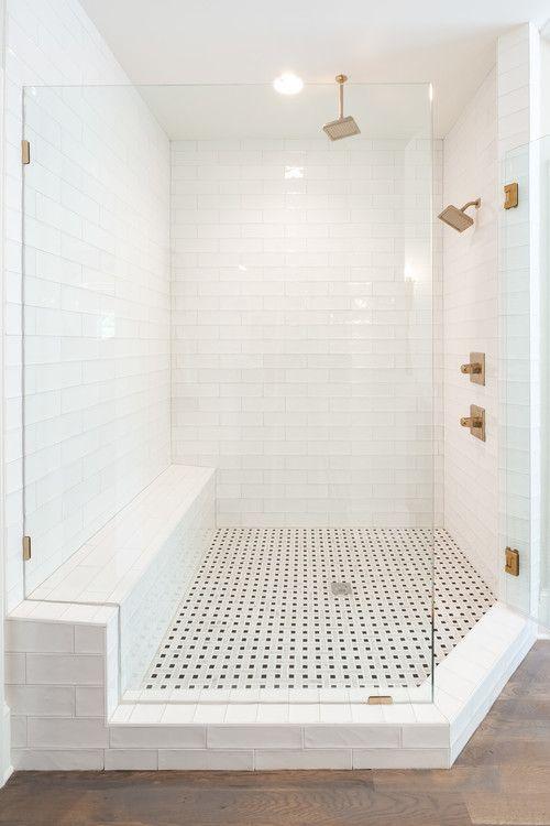 Modern Farmhouse Bathroom Decorating Ideas With A Shower That Features Brick Like W Farmhouse Master Bathroom Master Bathroom Shower White Subway Tile Bathroom