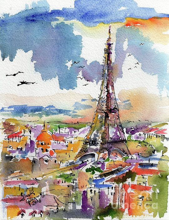 Paris Art Print Eiffel Tower Ginette Prints France Art