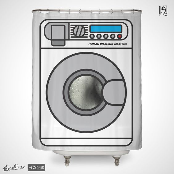 """Currently the highest scoring submission in our Shower Curtains design challenge, """"Human Washing Machine"""" by Rodrigo Leonardo Batista Ferreiraputs a fresh""""spin"""" on bathroom decor! Here's what Rodrigo had to say about this design:""""Trust me, it's safe."""""""