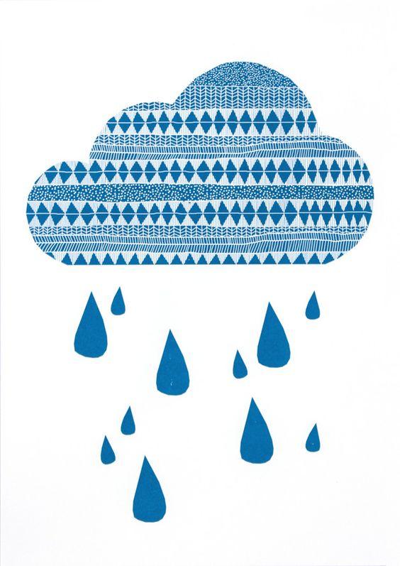 Siebdruck - Wolke Siebdruck Poster A3 Illustration Regen Kind - ein Designerstück von Morkebla bei DaWanda
