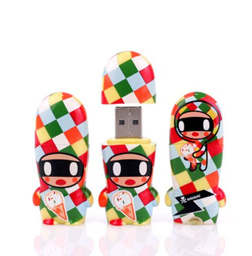 "Mimobot x Tokidoki Flash Drive 8 GB (Arlecchino).  Well well well, I saw this and thought ""RAD!"" Well of course its freaking Tokidoki. I had no idea when I saw it. My tastes are nothing if not consistent. I always feel like ""whats the purpose of a Flash Drive? Well.. I suppose I could cart around some crappy anime ^^"