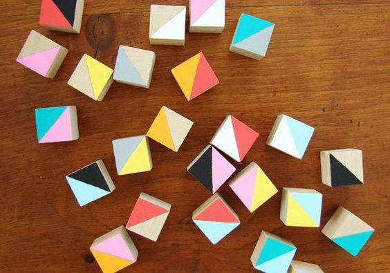 DIY geometric puzzle blocks craft via Etsy blog