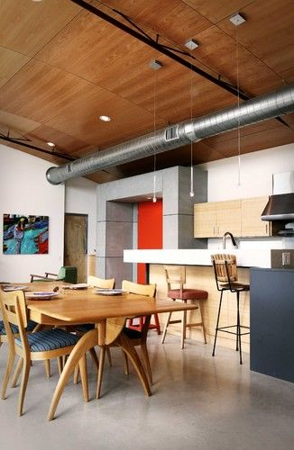 Modern Spaces Exposed Spiral Ductwork Design Pictures Remodel Decor And Id