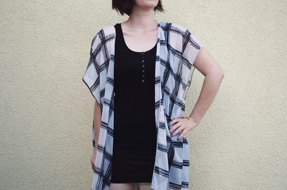 outfit - kimono - black - white - dress - casual - summer - H&M