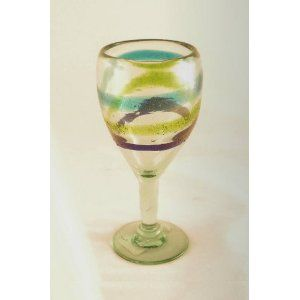 Recycled Glass Hand Blown Wine Glass
