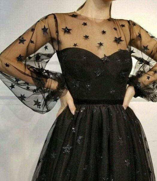 Black star evening dress with balloon sleeves | Beauty dress