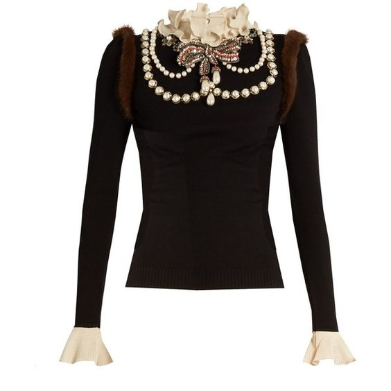 Gucci Necklace-embellished wool-blend knit sweater (£3,265) ❤ liked on Polyvore featuring tops, sweaters, embroidered sweaters, embellished tops, gucci sweater, pleated top and beaded top