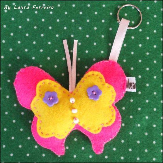 Lindo Chaveiro de borboleta em feltro ♥  Pode ser lindas lembrancinhas! Peça única!!  Envie um Email para:laurinhasj@gmail.com,será um prazer :) R$8,00