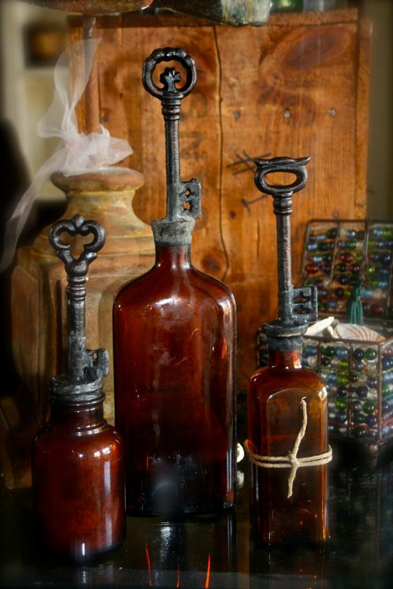 Vintage Key Topped Amber Glass Bottles Set Of Three by tresorbleu, $105.00
