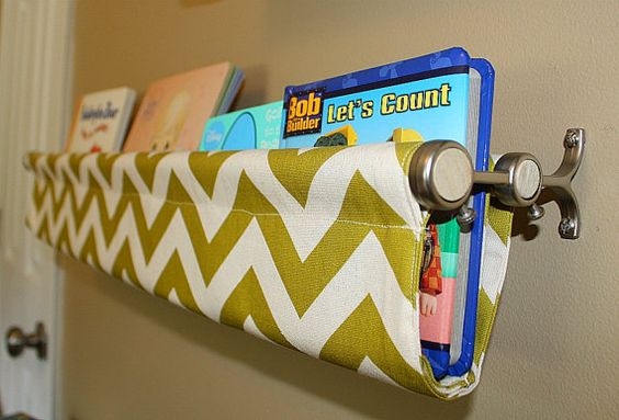 Such a clever idea! Some cute fabric and a double-poled curtain rod. We have so many books, I could do a whole wall of these!