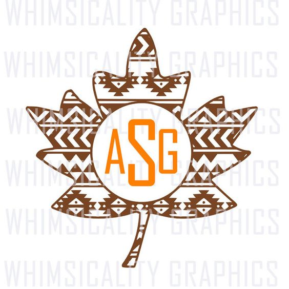 Digital File - Aztec Fall Leaf For Monogram with SVG, DXF, PNG Commercial & Personal Use