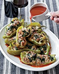 Spinach-and-Sausage-Stuffed Peppers Recipe from Food & Wine