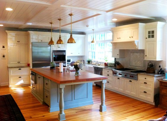 Great New Kitchen ideas. This faded marine blue island is another fine splash o' color! #kitchen #cabinets
