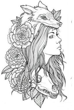 FOX woman. composite drawing. interesting thet the skull at bottom is looking jest a little to the side from the others.