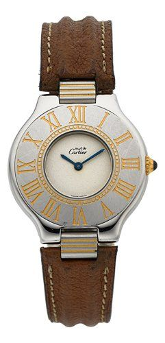 Cartier Must de 21 Wristwatch Case: stainless steel, case no. 901111762, Roman numeral bezel, 6-screw case back, 31 mm, sapphire crystal Dial: silvered, blued steel baton hands Movement: quartz standardization Band: brown leather, with Cartier stainless steel deployant buckle