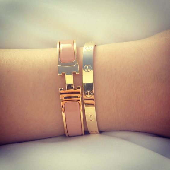 herms bags - Cartier Love Bracelet and Hermes Pink Enamel H Bracelet i found it ...