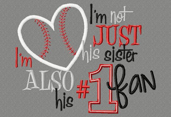 Baseball Sister saying 5X7 Embroidery design, #1 fan