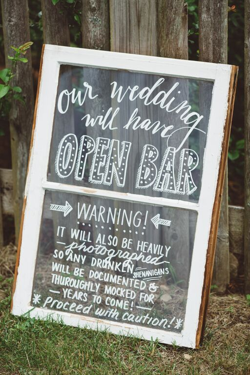 Open Bar Sign: