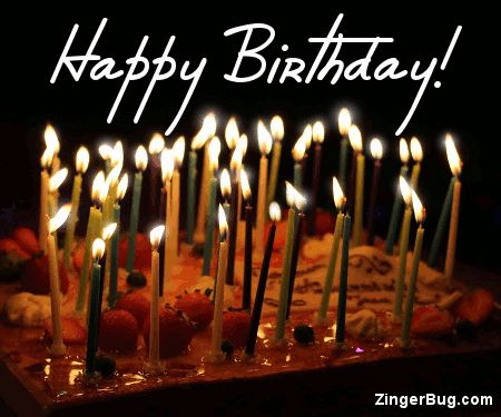 Birthday Cake With Twinkling Candles Glitter Graphic Greeting Comment Meme Or GIF