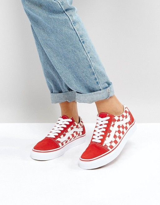 Vans - Old Skool Primary - Baskets à carreaux - Rouge | Vans ...