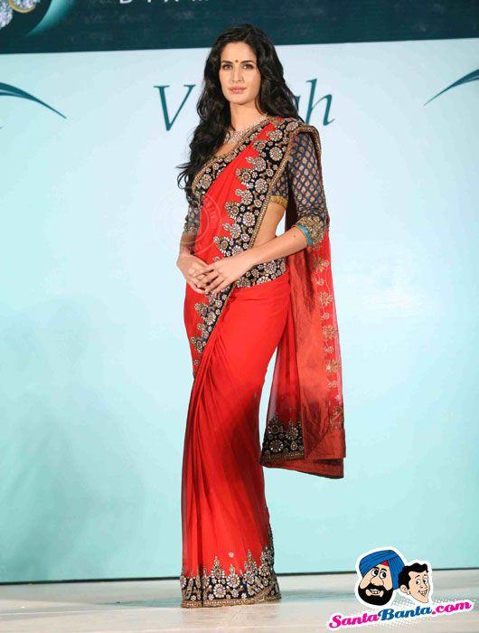 """KK1000  Katrina Kaif as Brand Ambassador of Nakshatra in Red 60 gms Georgette #Saree $84.37"""