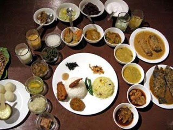 Food platter in a bengali wedding india cuisine for Authentic bengali cuisine
