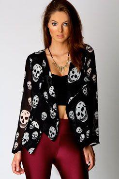 Ashley Skull Print Chiffon Jacket