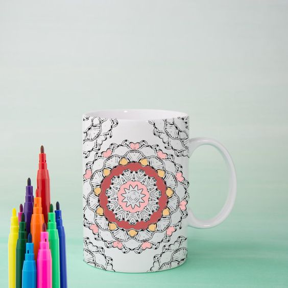 LOVE Mandala Mug DIY Color Your Own Mandala Positive by Exaltation
